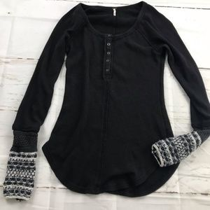 Free People Black thermal Henley with knit cuff